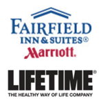 Fairfield Inn & Suites and Life Time Fitness logos