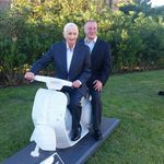 Mr Marriott and Reiner on vespa
